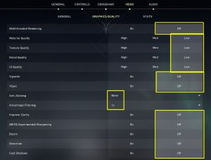 Settings for Low Fps and Lag in Valorant